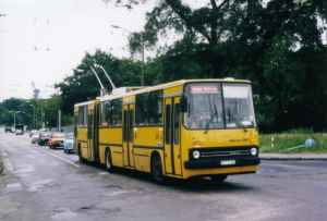 Articuted trolleybus of the Hungarian type Ikarus 280.93 from the delivery January 1990