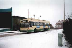 Trolleybus of the German type MAN SL 172 HO M 12 of the Stadtwerke Solingen (Solingen municipal utility) in Eberswalde